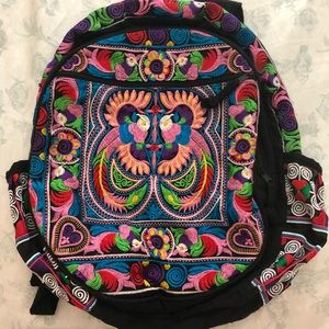 NWOT Expressions NYC cotton embroidered backpack